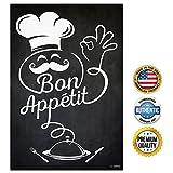 italian chalk board - ZENDORI ART Bon Appetit French Italian Fat Chef Kitchen Poster - Black Chalkboard-look Decor Sign (Print on Canvas Paper, 12