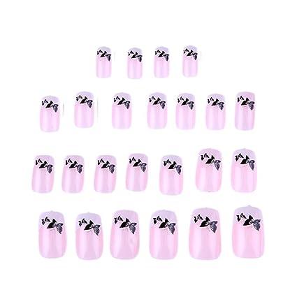 Gowind6 - Set de 24 uñas postizas con diseño de mariposas para decoración de uñas