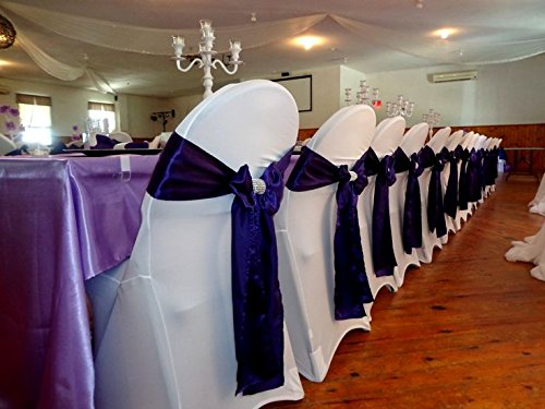 SPRINGROSE Ecoluxe White Scuba Spandex Stretch Folding Wedding Chair Covers (set of 10). These Are Made For Standard Metal and Plastic Folding Chairs.