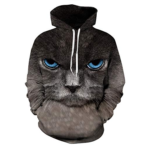 WOCACHI Mens Hoodies 3D Cat Print Pullover Unisex Hooded Couples Sweatshirt Deal Autumn Winter Warm Tops Blouses Shirts Dark Gray