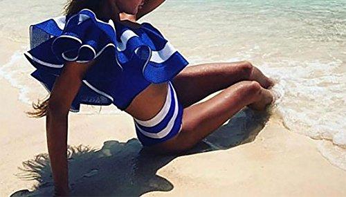 hibote Mujeres rayas un hombro volante Bodysuit Hiagh Waisted bikini traje de bano Azul