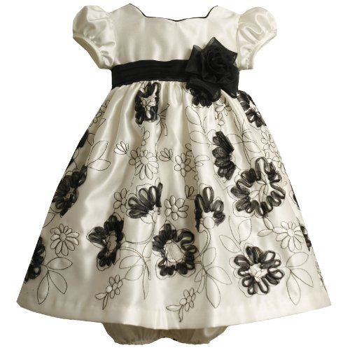 Bonnie Jean Baby/Infant 12M-24M Ivory Sweetheart Embroidered Bonaz Satin Dress