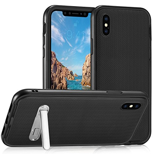 iPhone X Case Herringbone with Flexible Inner Protection and Reinforced Hard Bumper Frame +Magnetic Kickstand for Apple iPhone X (Black)
