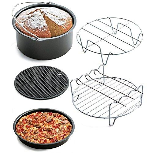 Air Frying Pan Accessories 5pcs Fryer Baking Basket Pizza Plate Grill Pot Mat