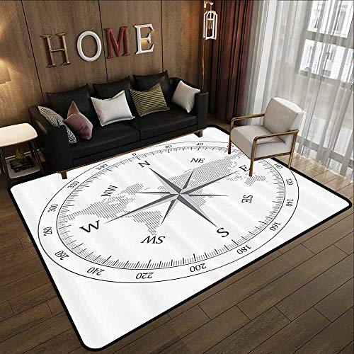 - American Floor mats,Compass Decor Collection,Compass,Rope and Glasses on Old Paper History Exploring Cartography Illustration,Gray White 63