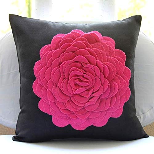"Throw Pillow Covers 22""x22"", Pink Throw Pillows Cover for Couch, 3D Felt Fuchsia Origami Flower Applique Pillows Cover, Faux Suede Square Pillowcases, Floral Modern Cushion Covers - Hot Pink Rose"