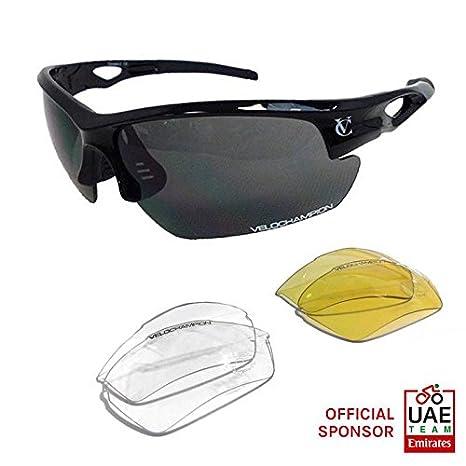 VeloChampion Tornado Occhiali da sole, bianco, con 3 set di lenti intercambiabili e custodia morbida