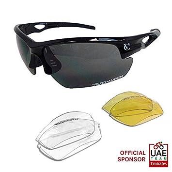 VeloChampion Lunettes de soleil Tornado - cyclisme Avec 3 paires de verres interchangeables - Noire Black Sunglasses 7InszFI4
