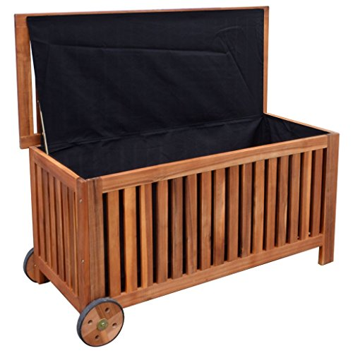 Vidaxl Outdoor Storage Bench Deck Box Garden Wooden Patio Porch Cushion Pillow Storage Garden