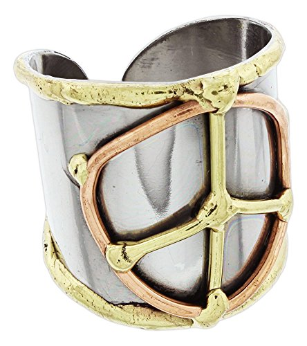 Anju Cuff Ring Welded Mixed Metal Design - Copper, Stainless Steel, Brass (Peace -