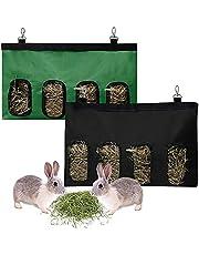 2 stuks voederzakken voor konijnen, hooi, cavia's, hooizakken in 4 gaten, hangende voederzak voor kleine dieren, opbergtas voor konijnenvoer, Oxford-stof, hooi voederzakken voor chinchilla