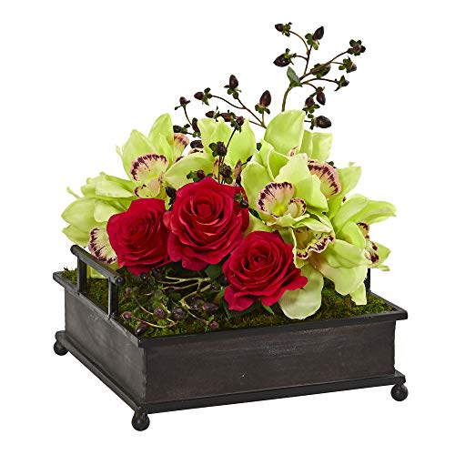 (Nearly Natural 1883 Cymbidium Orchid and Roses Artificial Metal Tray Silk Arrangements Green/Red)