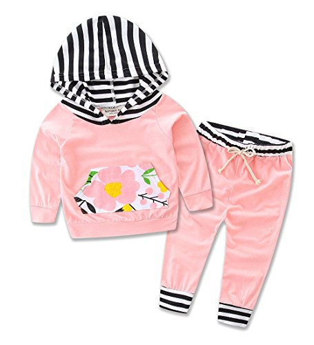 Toddler Infant Baby girls Deer Long Sleeve Hoodie Tops Sweatsuit Pants Outfit S (80) (80 S Outfit)