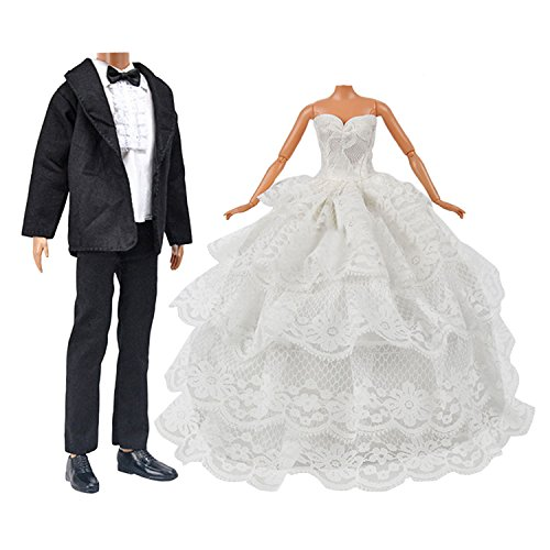 (Doll Toy Wedding Clothes Pack 1 PCS Girl Doll Bride Wedding Dress with Veil for Barbie Doll + 1 Set Groom Suit for Ken Doll Kids Birthday Xmas)