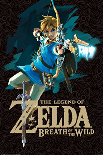 Link Costumes Triforce Heroes (Legend of Zelda Breath of The Wild Link With Bow Video Gaming Poster 24x36)