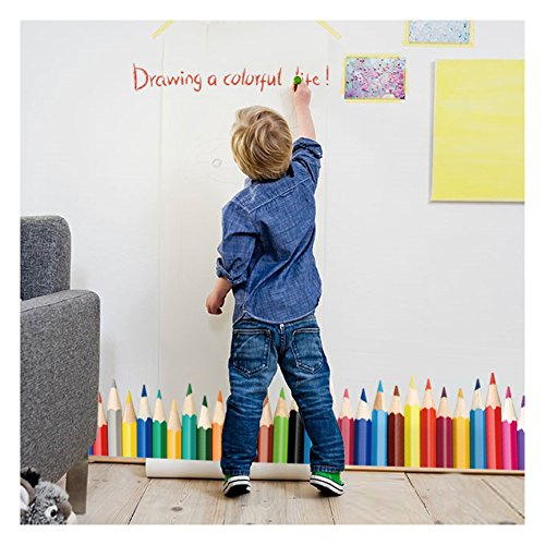- Dooboe Wall Decals for Classroom - Colorful Crayons Vinyl Wall Stickers for Kids - Removable Wall Murals for Playroom, Large Stick and Peel Art