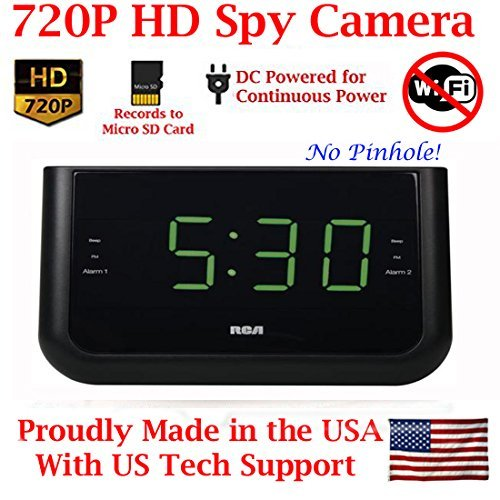 9. AES Spy Cameras ACRHD 720p Alarm Clock Radio HD Covert Hidden Nanny Camera Spy Gadget (Black)