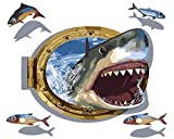 Version 3.0 HD Paint By Number Kits for Adults 3-dimension PBN Kit Paintworks Digital Diy Oil Painting Canvas Kits for Children Kids Beginner White Christmas Decorations Gifts - Big Shark (N30, No Frame)