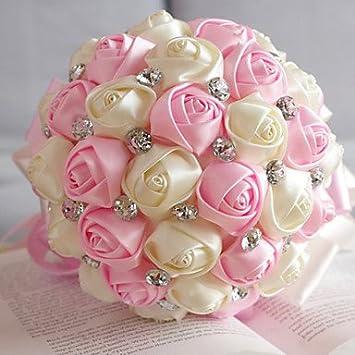 Amazon De Funan Hochzeit Blumen Rund Rosen Strausse Hochzeit Satin