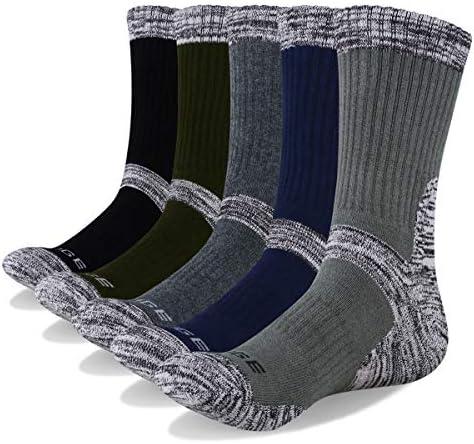 Outdoor Multi Performance Thermal Socks for Walking Trekking Climbing Cycling Athletic Socks Mens 3 Pairs Hiking Wicking Cotton Cushion Crew Socks