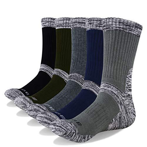 YUEDGE Men's Crew Socks Moisture Control Wicking Cushion Anti Blister Performance Cotton Active Athletic Socks