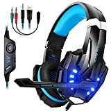 Gaming Headset, Vivibel G9000 3.5mm Stereo Gaming Headphone for PS4, PC, Xbox One Controller, Wired Headset Earphone Headband with Microphone LED Light, Volume Control, Noise Canceling, Bass Surround