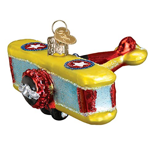 (Old World Christmas Glass Blown Ornament with S-Hook and Gift Box, Auto Collection (Biplane) )