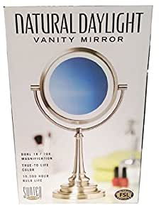 Sunter Lighted Vanity Mirror Reviews : Amazon.com: Sunter Natural Daylight Vanity Mirror Dual 1x/10x Magnification 13w CFL Bulb ...