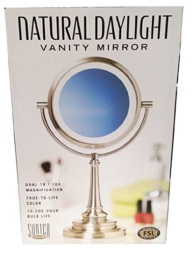 Sunter Natural Daylight Vanity Mirror Dual 1x/10x Magnification 13w CFL Bulb Included