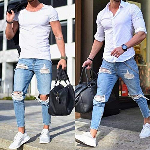 Fit Skinny Straight Jeans Strappato R Stretch Pantaloni Men's Fashion Destroyed Hellblau1 Giovane Slim Casual Vita Denim Mid gUBqzBA