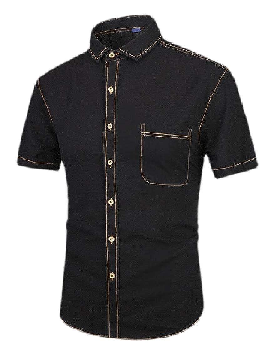 Men Big /& Tall Fort Short Sleeve Shirt Lightweight Denim Button Down Shirts