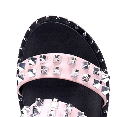9d8cbec8e6a860 ... Schuhtempel24 Damen Schuhe Pantoletten Sandalen Sandaletten Flach  Nieten Rosa ...