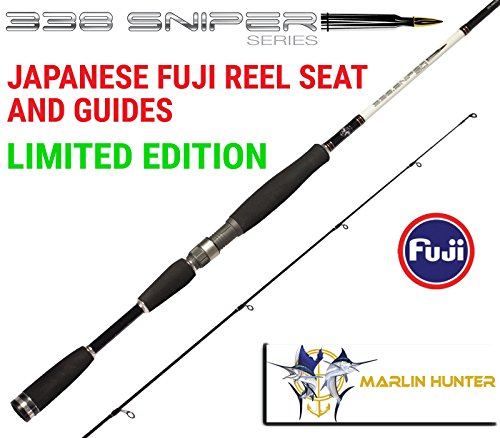 Fuji Japanese Series (MHA 338 SNIPER Series II Graphite Carbon Fiber Spinning Fishing Rod JAPANESE FUJI GUIDES for boat jetty saltwater or freshwater fishing)