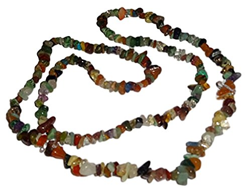 1pc Mixed Chip Chakra (Style #2) Natural Healing Premium Crystal Gemstone Long Style 36 Inch Necklace