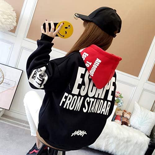 MIBKLPG Neue Frauen Hoodies Warm Loose Hooded Oversized Sweatshirt Hoodie Streetwear Schwarz