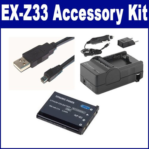 Casio Exilim EX-Z33 Digital Camera Accessory Kit includes: SDCANP80 Battery, SDM-196 Charger, USB8PIN USB Cable