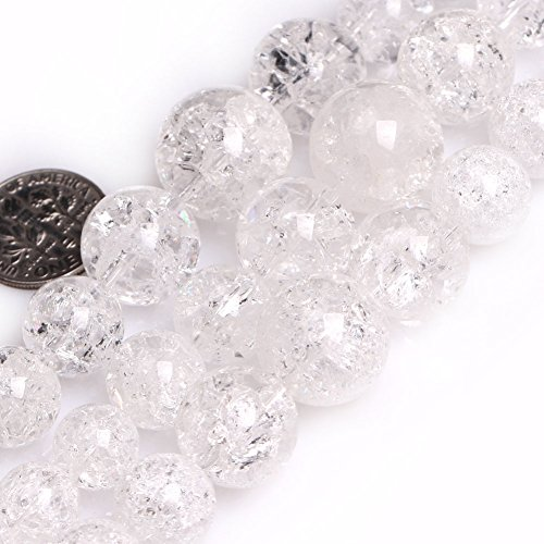 GEM-inside Crackle White Quartz Gemstone Loose Beads Natural 6-14mm Round Graduated Frost Crystal Energy Stone Power For Jewelry Making 15""