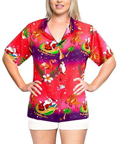LA LEELA Relaxed Hawaiian Shirt Christmas Blouses Button Down Women Short Sleeves Pink