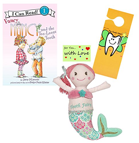 Tooth Fairy Kit - Plush Mermaid Tooth Fairy Figure with Pocket by Masion Chic, Tooth Fairy Book Fancy Nancy and The Too Loose Tooth & Door Hanger for Girls About to Loose Their First Tooth