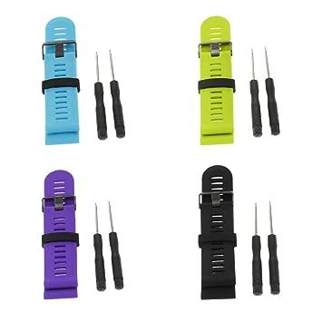 Baoblaze 4 pcs Pulsera para Garmin Fenix 3 HR Reloj Inteligente Smartwatch Flexible Duradero para Mujer Hombre Cómodo de Verde Negro Rojo Morado