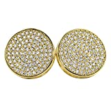 Gold Large 16MM Circle Micro Pave Bling Bling Earrings