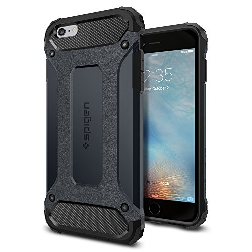 iPhone 6s Plus Case, Spigen® [Tough Armor Tech] Ultimate Shock-Absorb [Metal Slate] Dual Layer Ultimate Rugged Protection Case for iPhone 6s Plus (2015) - Metal Slate (SGP11747)