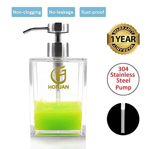 Acrylic Soap (HONJAN Hand Dish Soap Dispenser,18oz Acrylic Clear Bath Soap Dispenser with 18/8(304) Stainless Steel Pump for Kitchen Sink Bathroom Shower)