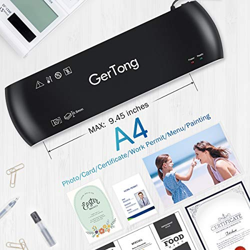 Laminator GerTong A4 Laminator 4 in 1 Thermal Laminator 9 inches 20 Laminating Pouches Paper Trimmer Corner Rounder for Home Office School