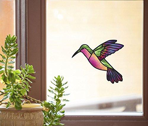 Green Rainbow Hummingbird - Stained Glass Style - See-Through Vinyl Window Decal - Copyright Yadda-Yadda Design Co. (6