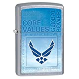 Air Force Street Chrome Zippo Outdoor Indoor Windproof Lighter Free Custom Personalized Engraved Message Permanent Lifetime Engraving on Backside