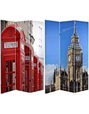 Oriental Furniture Large England Britain UK Photo Photographic Print- 6' Double Printed London Icon Room Divider Screen, Big Ben/Phone Booths