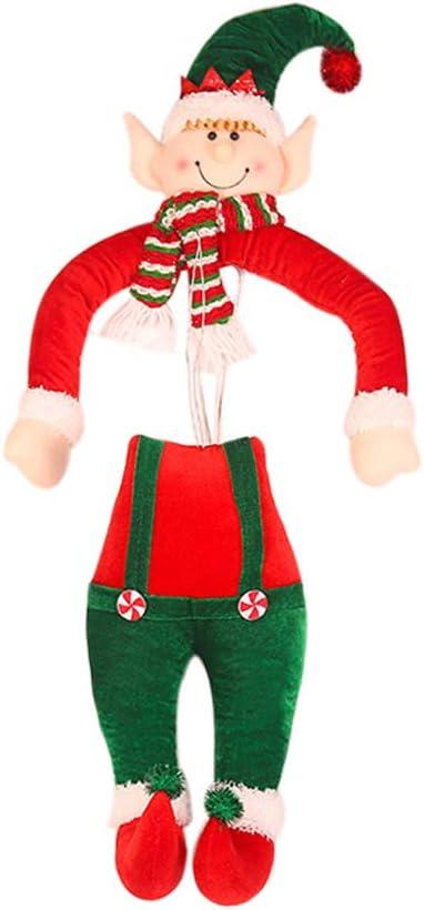 JIESD-Z D/écoration de sapin de No/ël amusante en peluche sans taille pour elfe de No/ël 35,5 cm adorable elfe coinc/é dans un sapin de No/ël en peluche /à suspendre