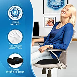 Everlasting Comfort Seat Cushion for Office Chair – Tailbone Pain Relief Cushion – Coccyx Cushion – Sciatica Pillow for Sitting (Black)