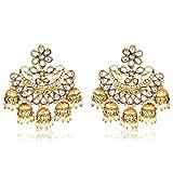 Meenaz Fashion Jewellery Traditional Gold plated Chandbali Pearl Kundan Jhumka Jhumki Earrings for Girls women Combo partywear stylish Wedding Jewelry Hangings Jhumka Earrings Pendants for girls- jhumki earrings-193